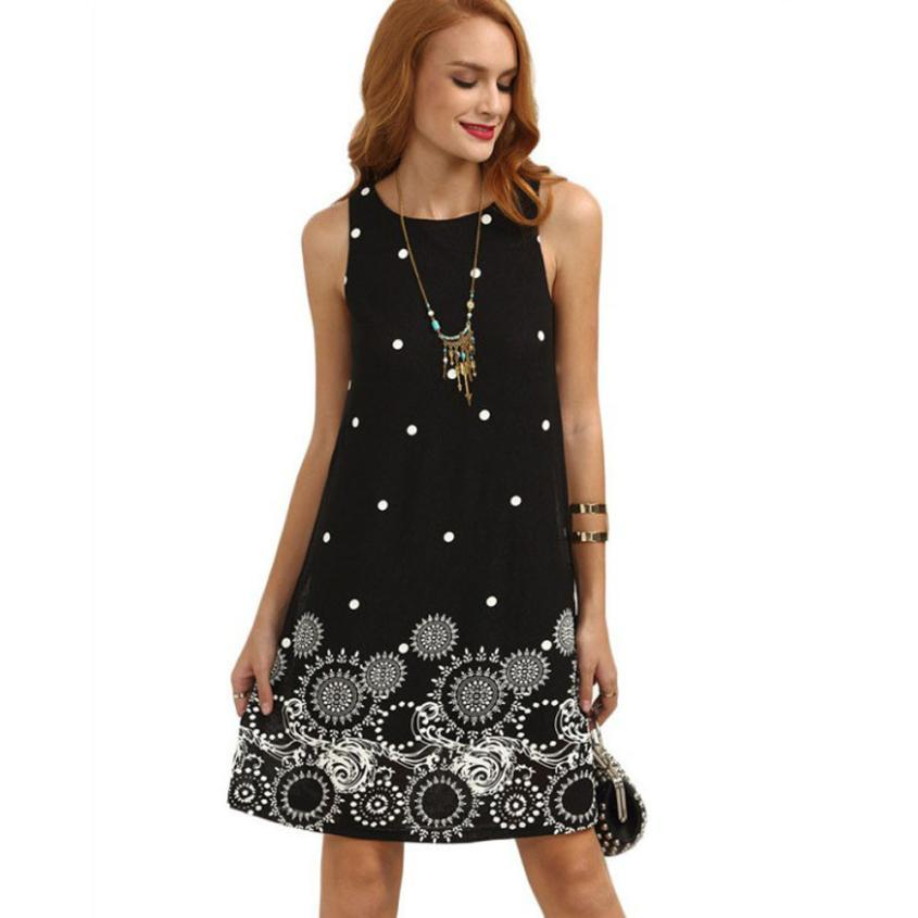 Women Dress Dot Sleeveless Chiffon Dress