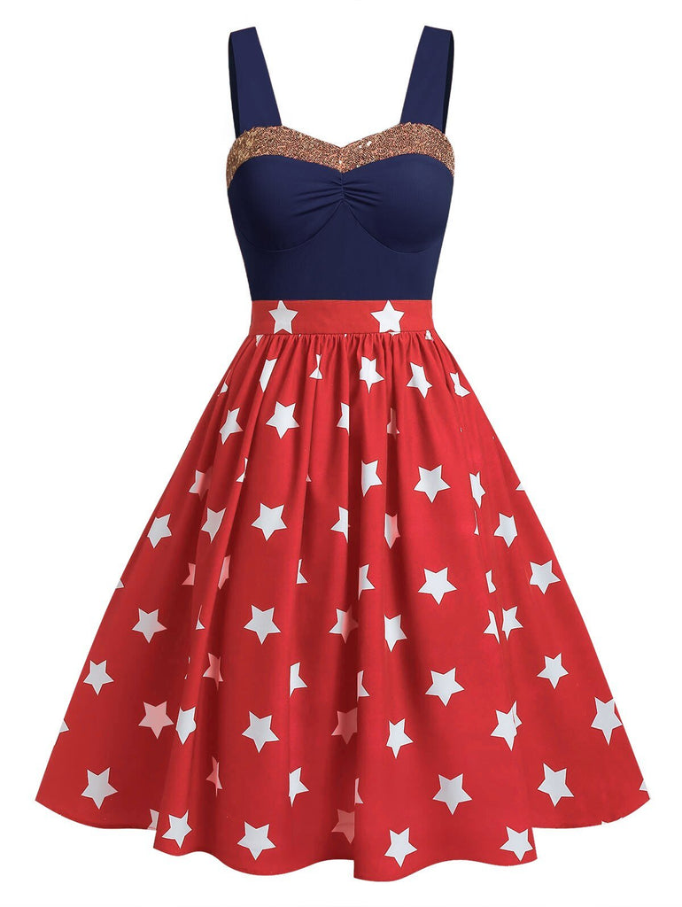 Wipalo American Flag Print Sequined Dress Plus Size Sleeveless Summer Glitter Dress Women Casual Knee-Length Dress Vestidos