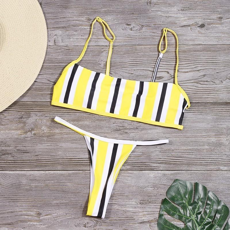 Sexy Stripe Print Swimsuit Women Solid Tube Top Bathing Suit