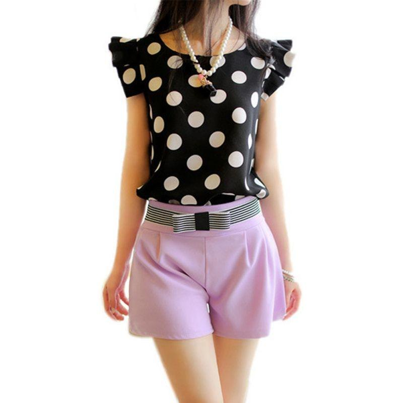 Women Casual Chiffon Short Sleeve Shirt