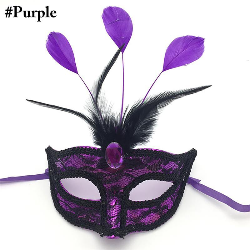 1 Pc Premium Leather Feather Mask Masquerade Parties Carnival Mask