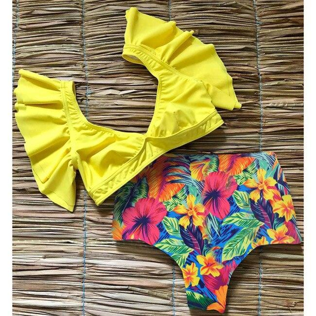 Floral Ruffled Bikini Set Women V-neck High Waist Two Piece Swimsuit