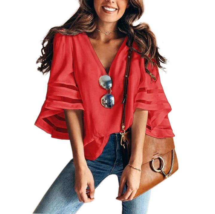 Summer Blouse V-neck Flared Sleeves Mesh Patchwork Shirt