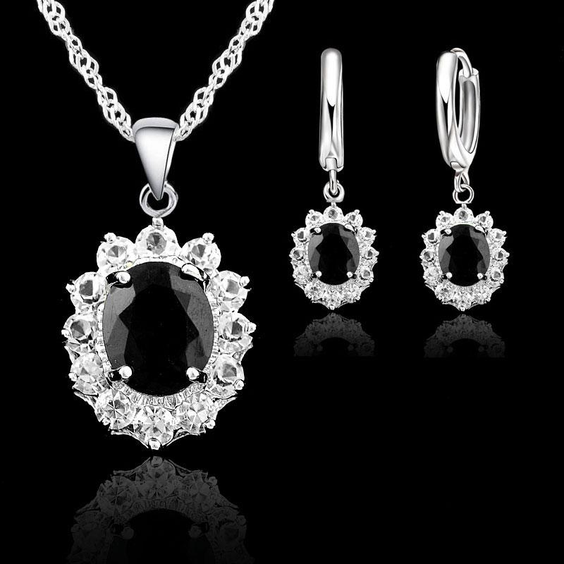 Black Oval Cubic Zirconia Stones Jewelry Sets