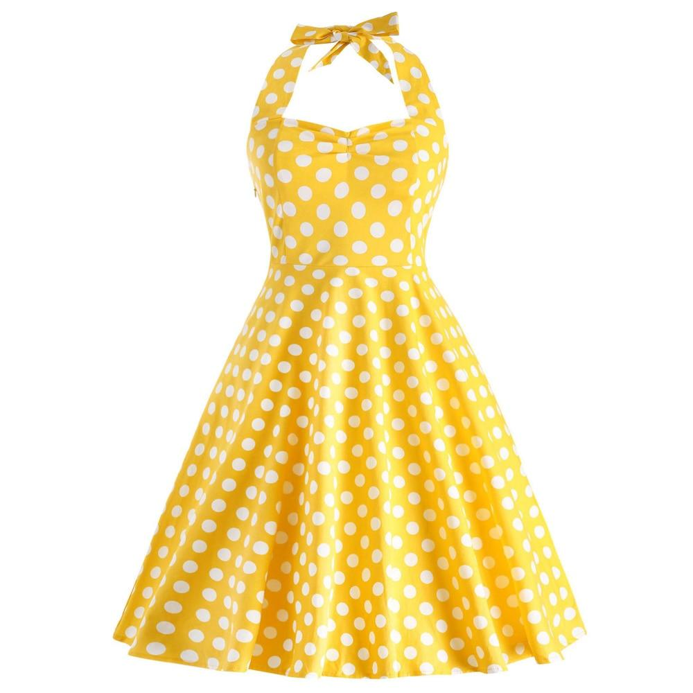 Wipalo Plus Size 5XL Women Summer Dress Vintage Yellow Polka Dot A-Line Party Dress Casual Cotton Halter Dresses Female Vestidos