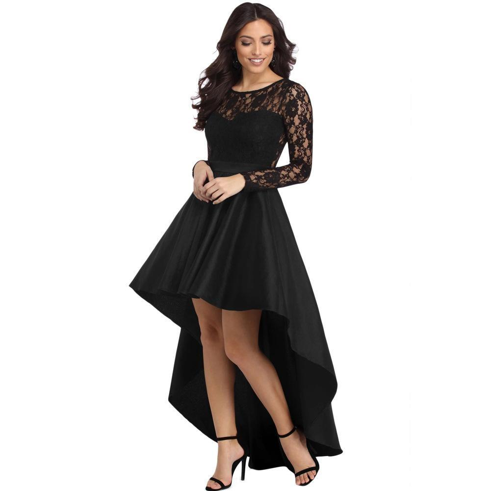 Lace Patchwork  Long Sleeve Asymmetrical Elegant Skater Dress