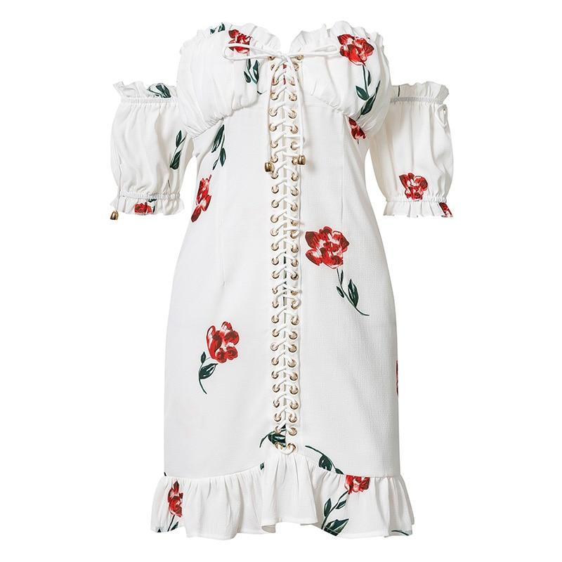 Lace Up Strapless Off The Shoulder Short Sleeve Floral Print Ruffle Dress