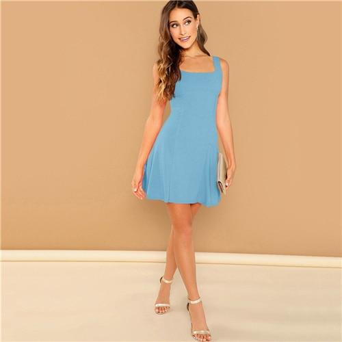 Fit And Flare Solid Dress Elegant Plain A-Line Straps Sleeveless Dress
