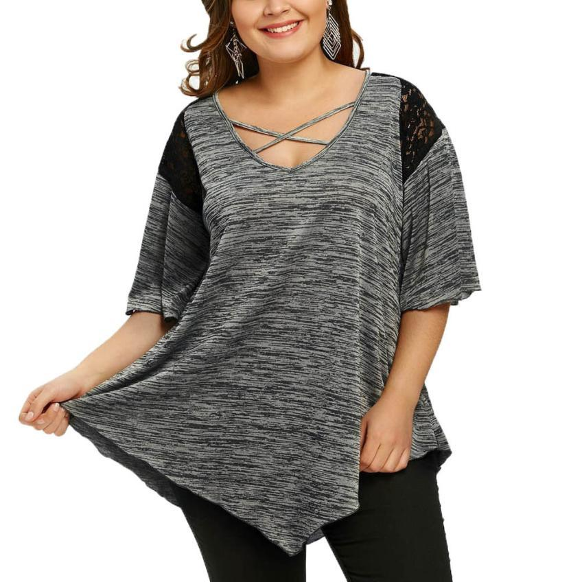 Plus Size T shirt Asymmetric Tunic  Lace Flare Sleeve Top