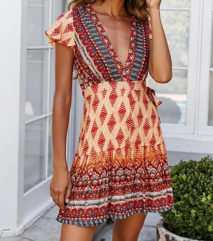 Bohemia Print Short Dress Ruffles Mini Beach Dress