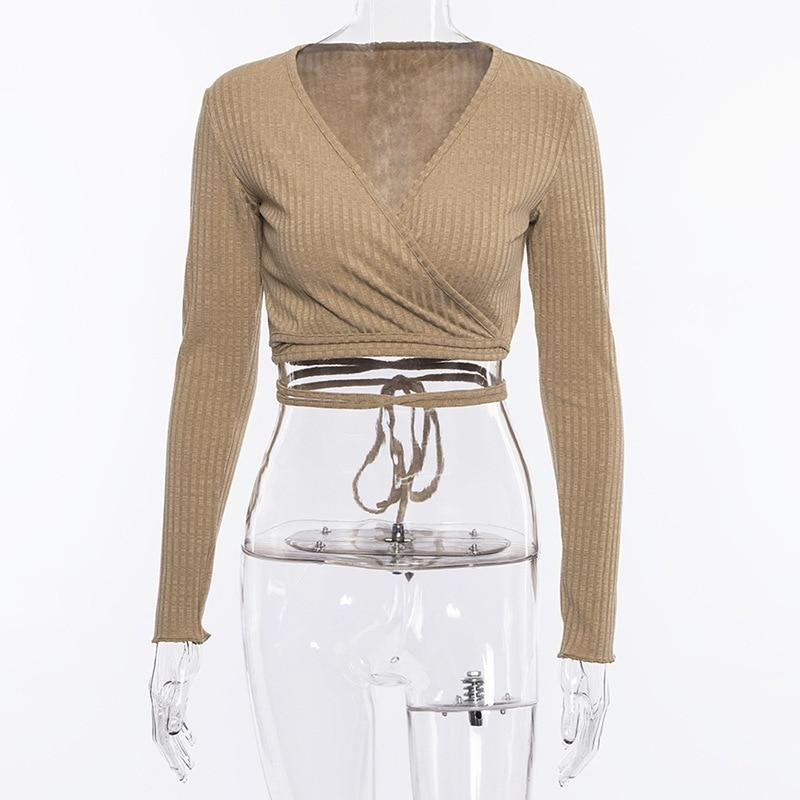 Cryptographic Deep V-neck T shirt Bandage Long Sleeve Crop Top