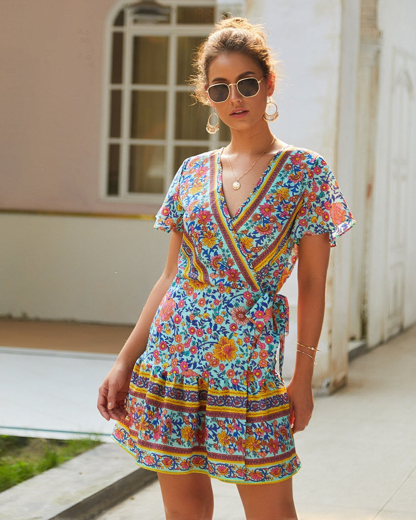 Summer Bohemia Print Short Dress Vintage Tunic Ruffles Mini Beach Dresses Casual Holiday Sundress Lace Up Women Party Vestidos
