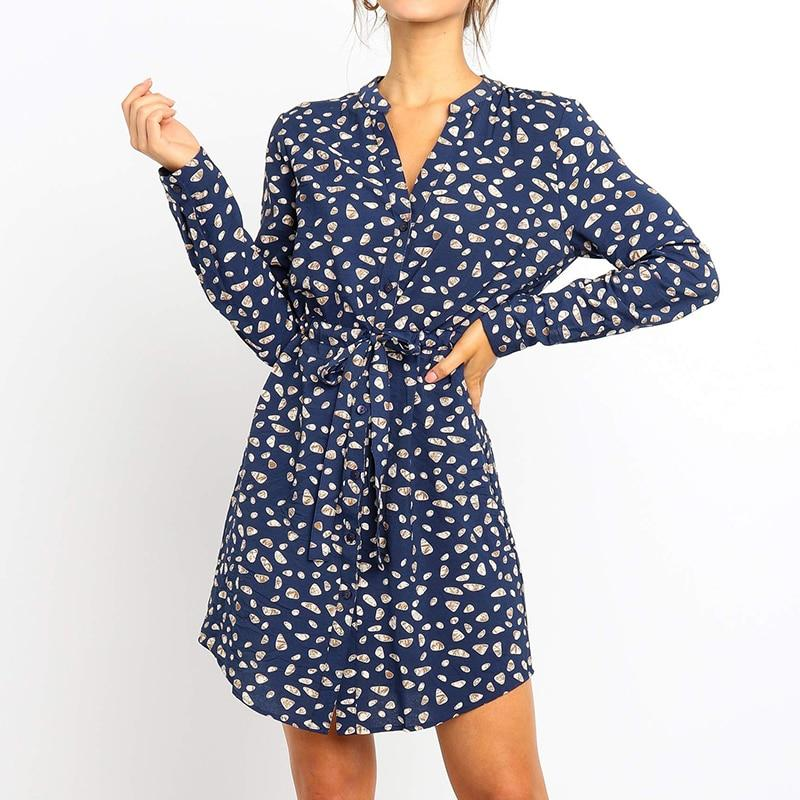 Shirt Dresses Long Sleeve For Women 2020 Autumn Floral Print Elegant Office Dress Vintage V Neck Mini Party Dress Vestidos