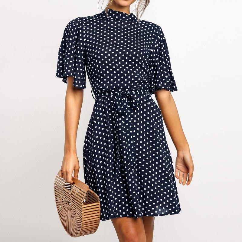Polka Dot Dress Chic Short Sleeve Mini Dress