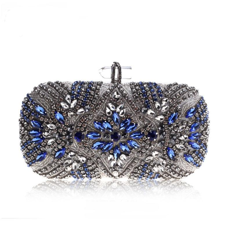 Crystal Chain Shoulder Bag Blue Evening Bag (blue)