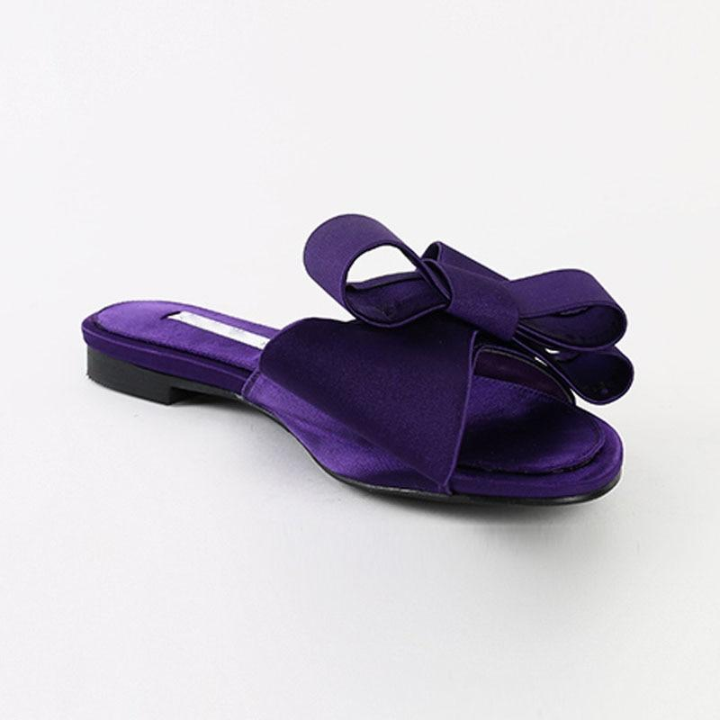 Large Bow Satin Round Head Sandals Wild Half Slippers
