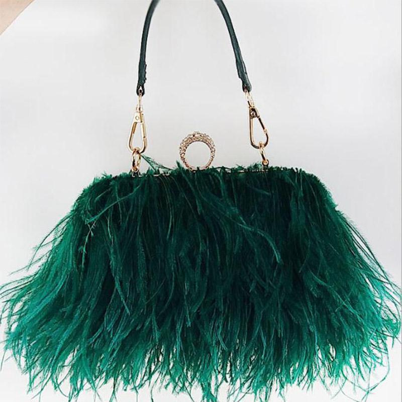 Ostrich Fur Feather Diamond Knuckle Rings Evening Bag