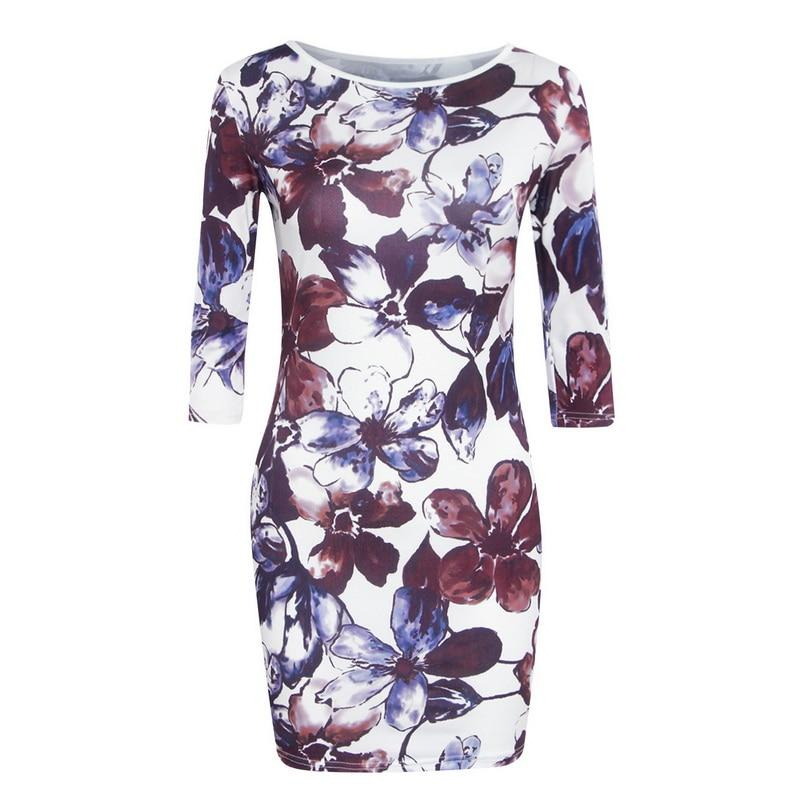 Summer Vintage Dress Middle Sleeve Floral Printed Ladies Pencil Dress