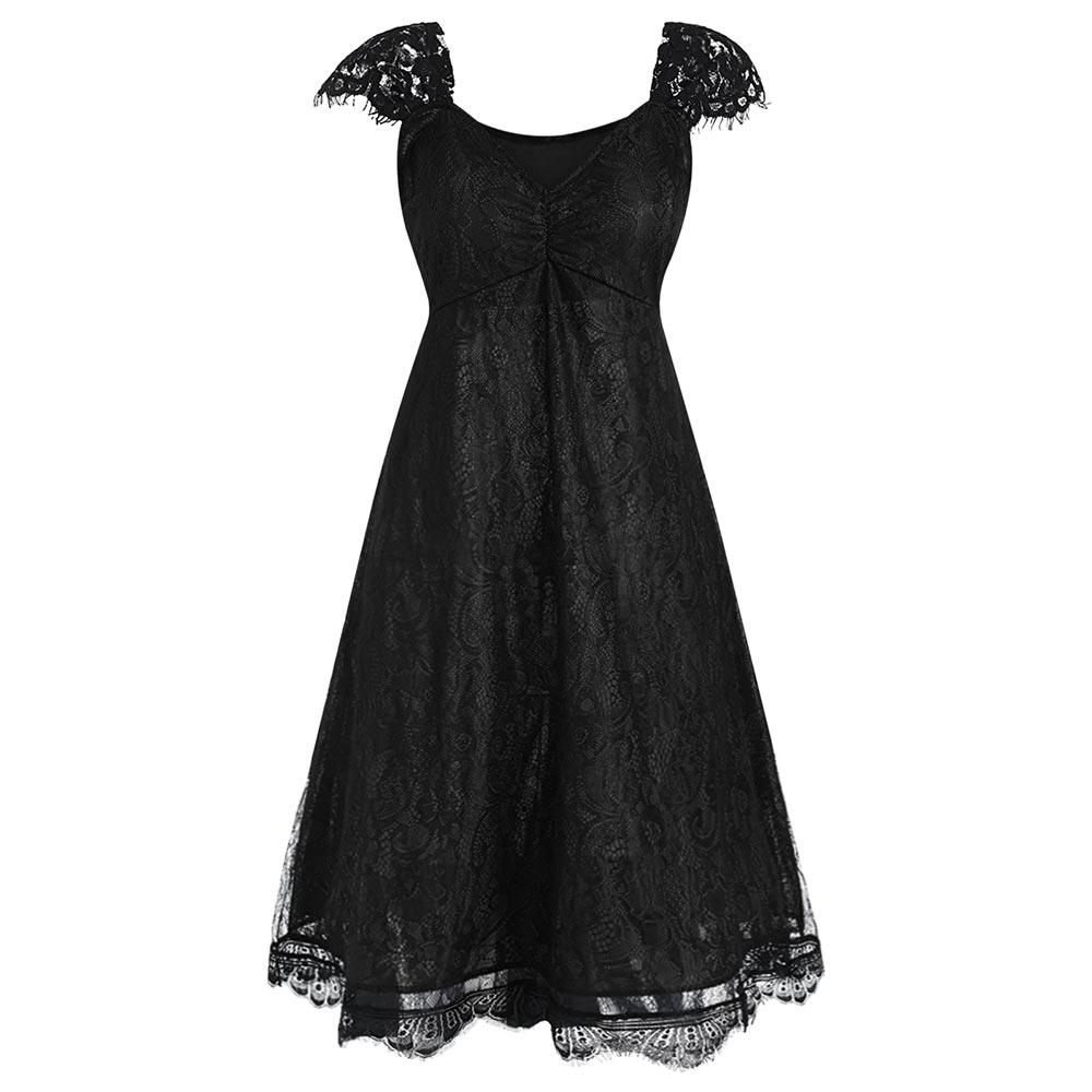 Plus Size Dress Sweetheart V Neck Cap Sleeve Floral Lace Dress
