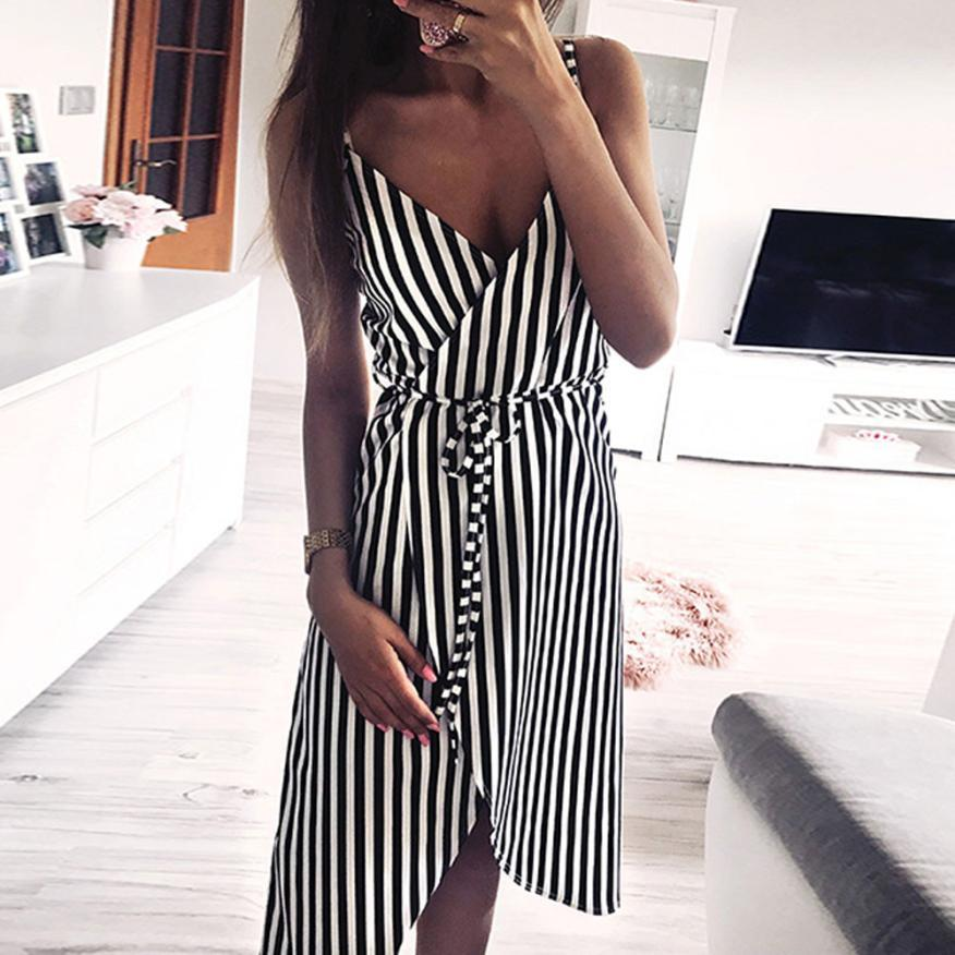 Women Stripe Printing Sleeveless Off Shoulder Dress