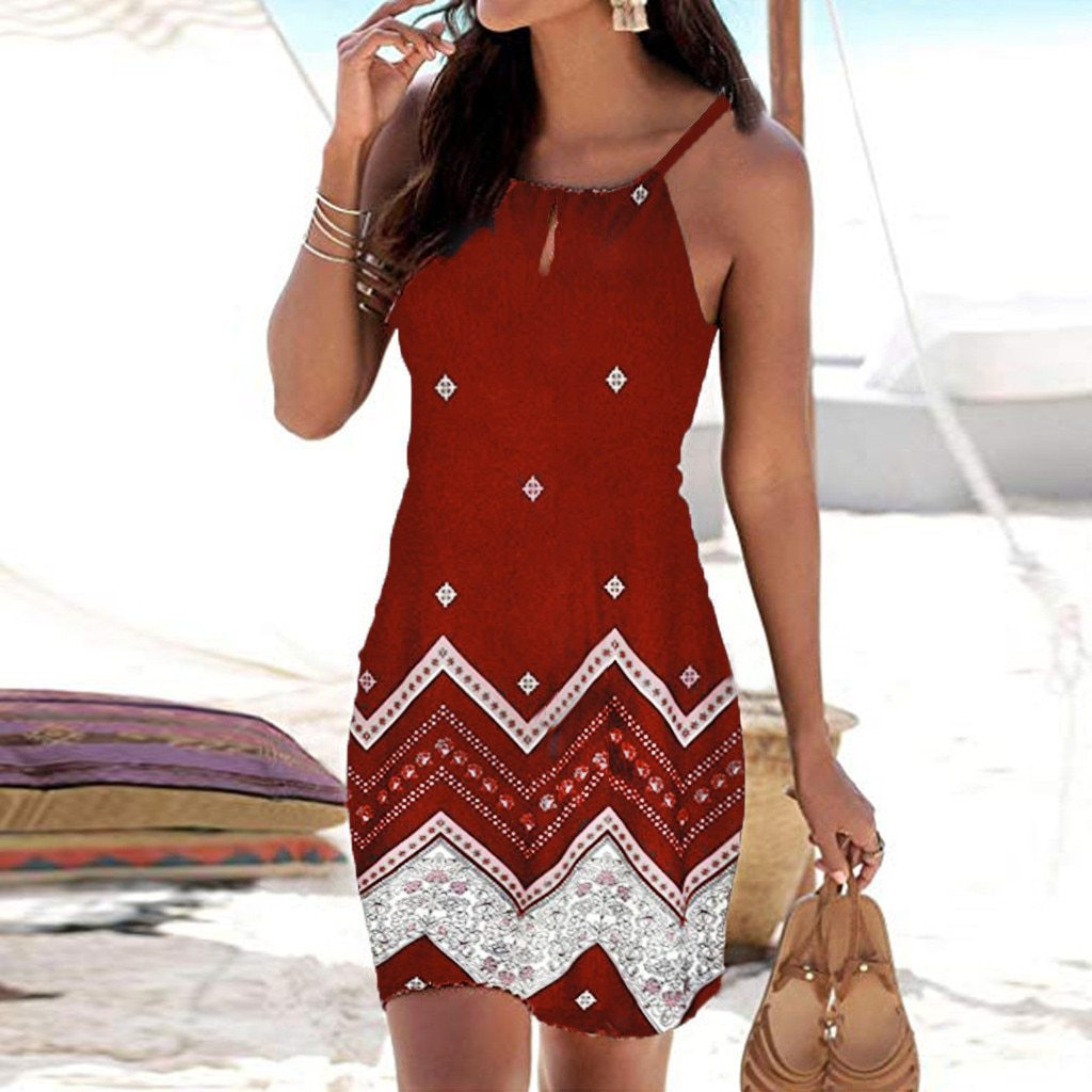 Mini Beachwear Women Halter Neck Sleeveless Print Dress