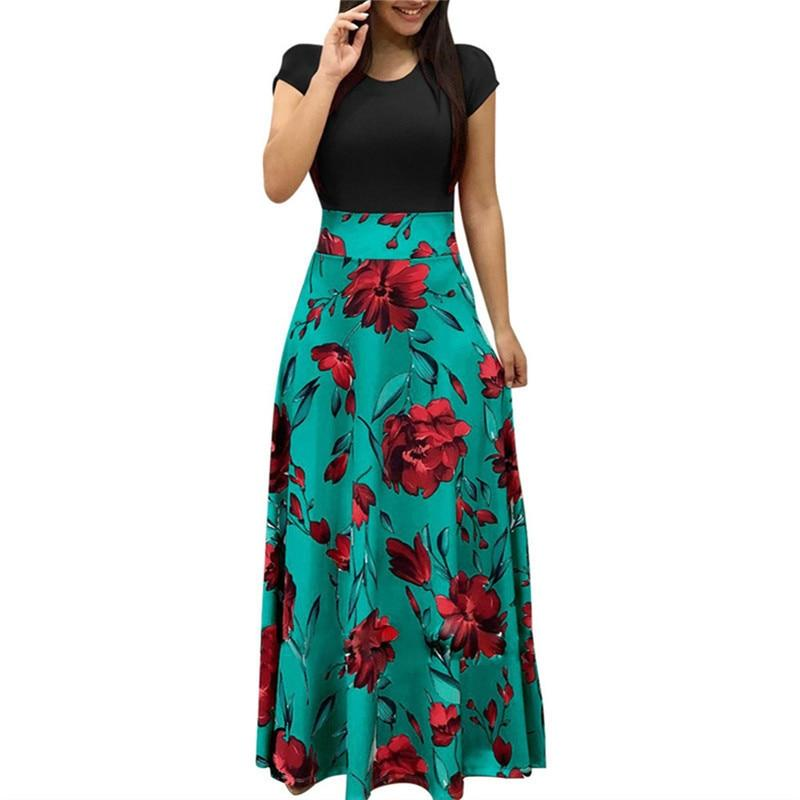Bohemian Floral Print Dress Casual Patchwork Short Sleeve Beach Maxi Dress