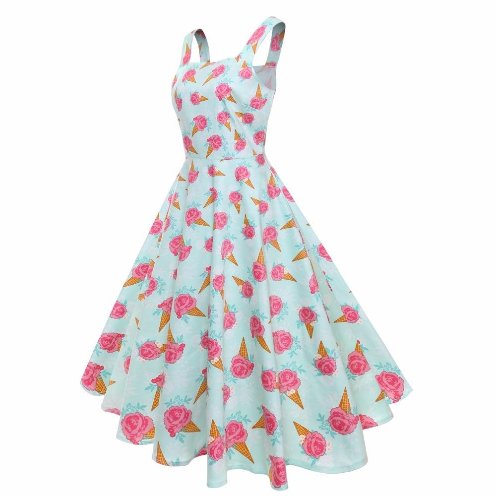 50s Ice-cream Print Spaghetti Strap Swing Dress