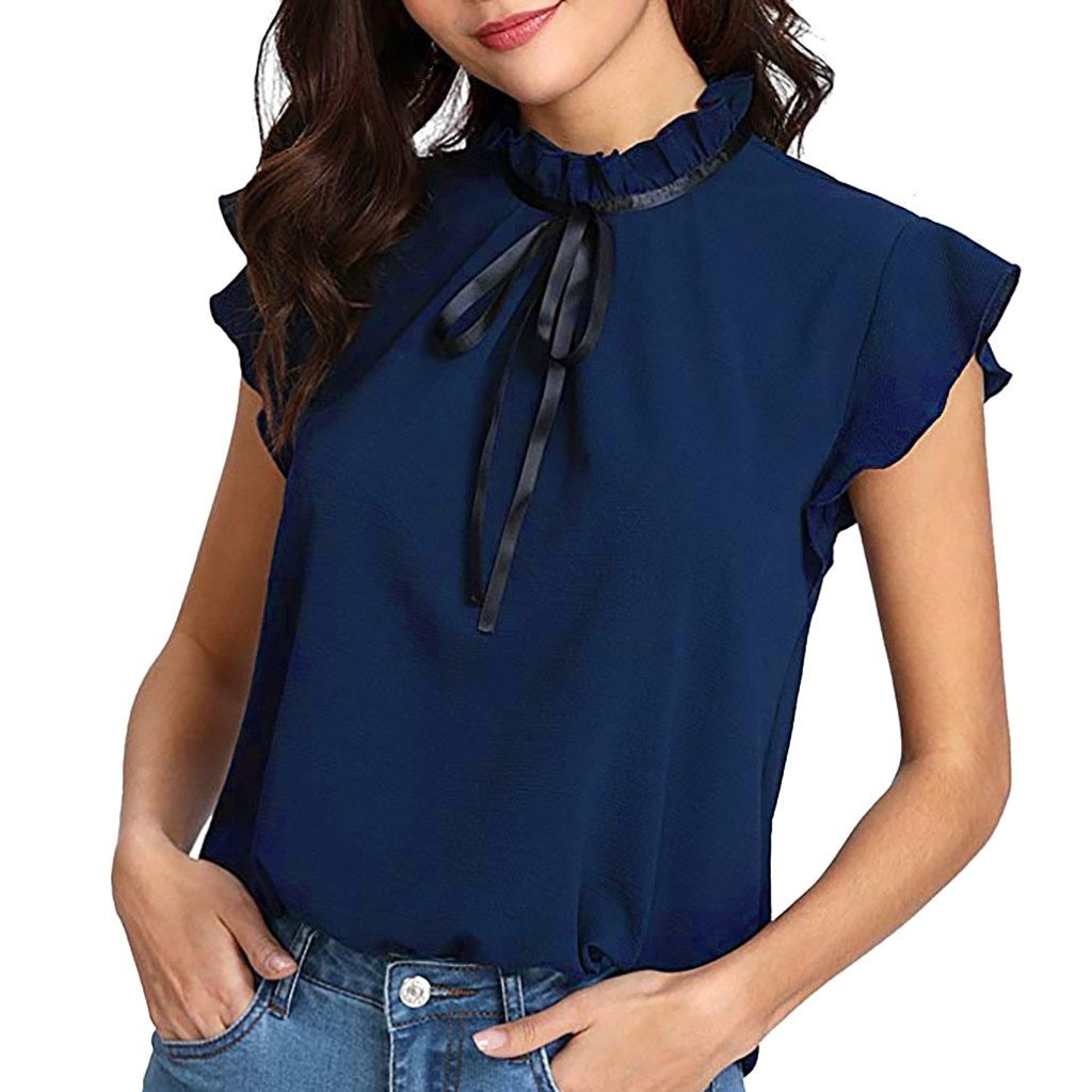 Casual Cap Sleeve Bow Tie Shirt