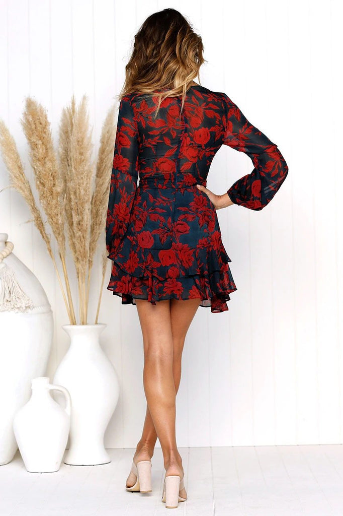 Sexy Deep V Neck Floral Printed Mini Dress
