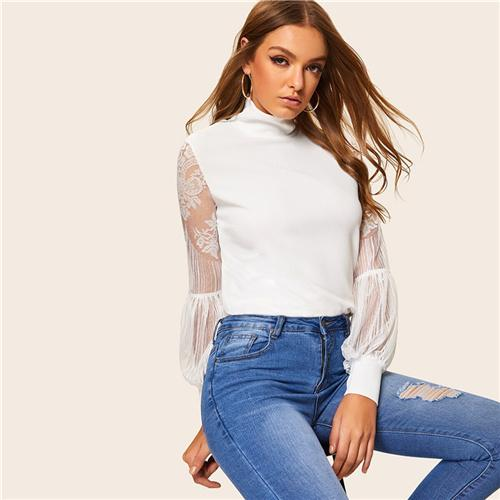 Women High Neck Lace Lantern Sleeve Top