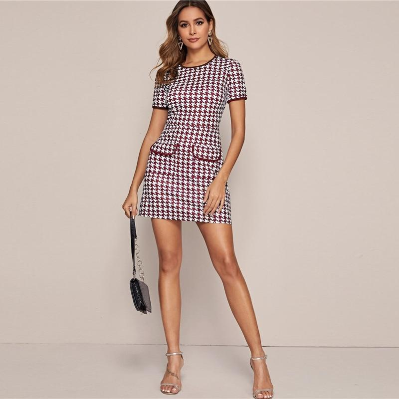 Black And White Flap Pocket Houndstooth Ringer Elegant Dress