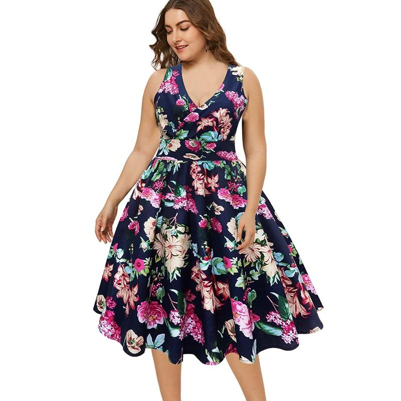 Wipalo Women Plus Size Deep V Neck Sleeveless Floral Printed Vintage Ball Gown Party Dress Ladies Retro Party Dress Robe Femme