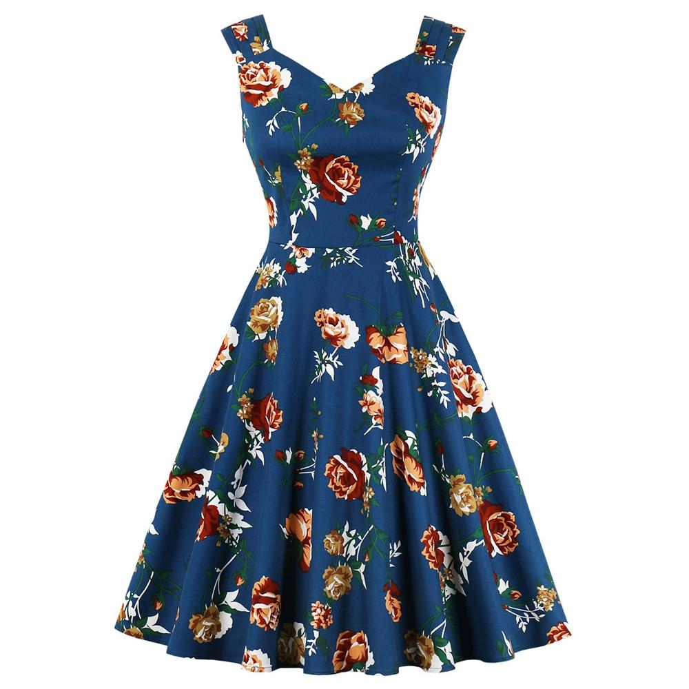 Navy Blue Floral Print Women Vintage Dress