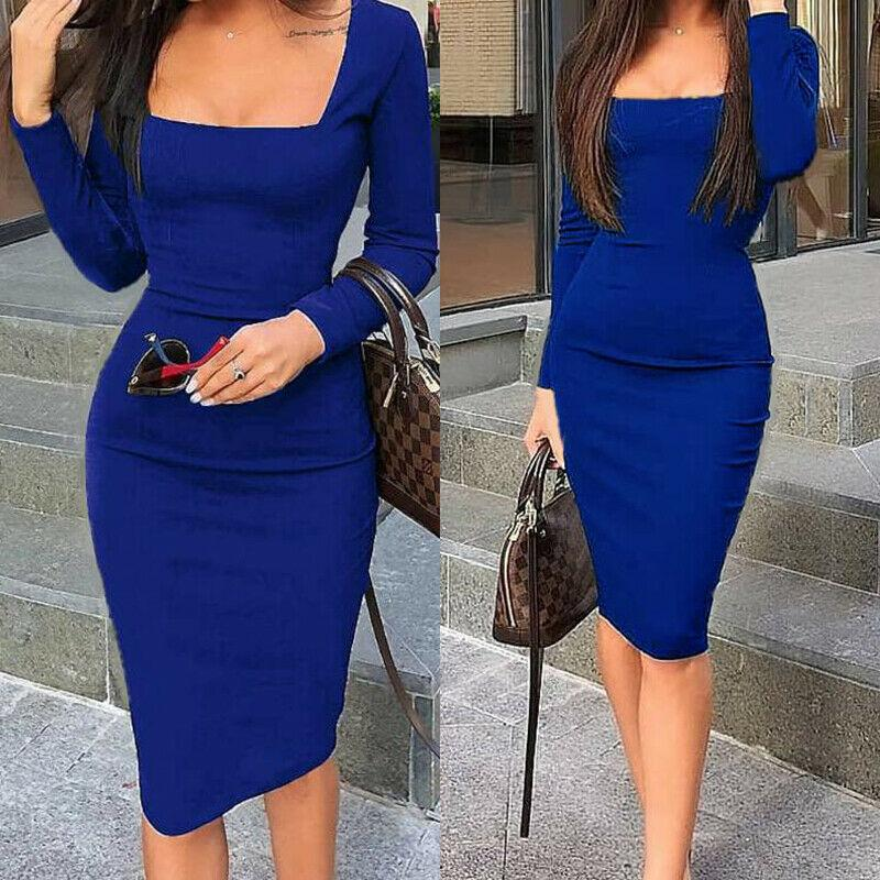 Women Square Neck Pencil Dress