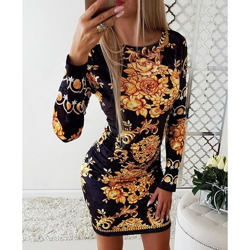 Bag Hip OL Print Mini Dress Elegant O Neck Long Sleeve Office Work Casual Dresses Autumn Spring Clothes 2020 Robe Femme Vestidos