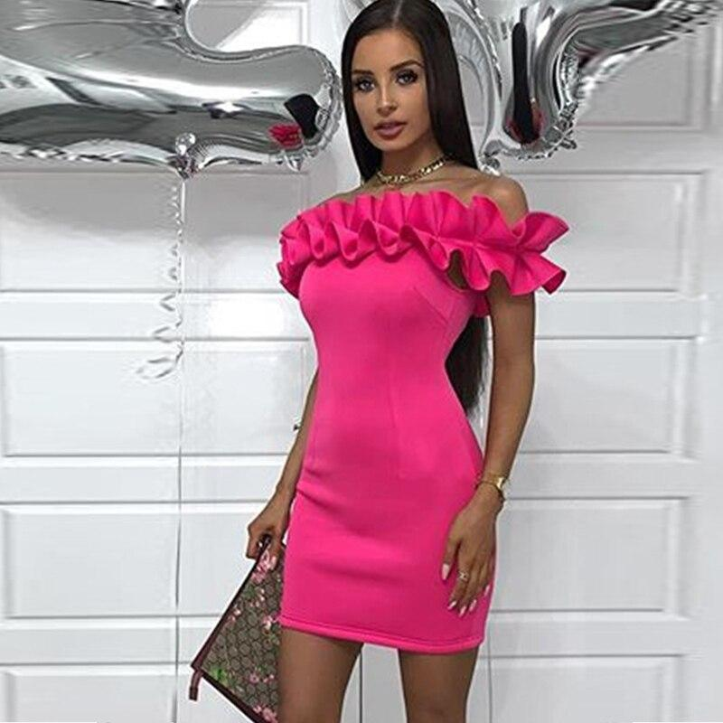 Ruffles Off Shoulder Sexy Dress Women Party Night Clubwear
