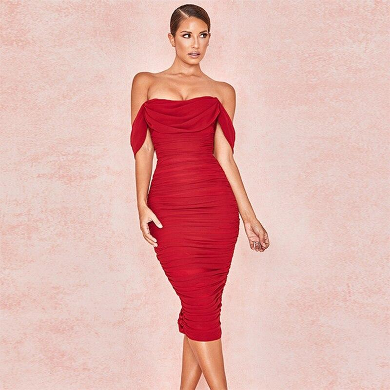 Elegant Strapless Double Layers Bodycon Red Dress