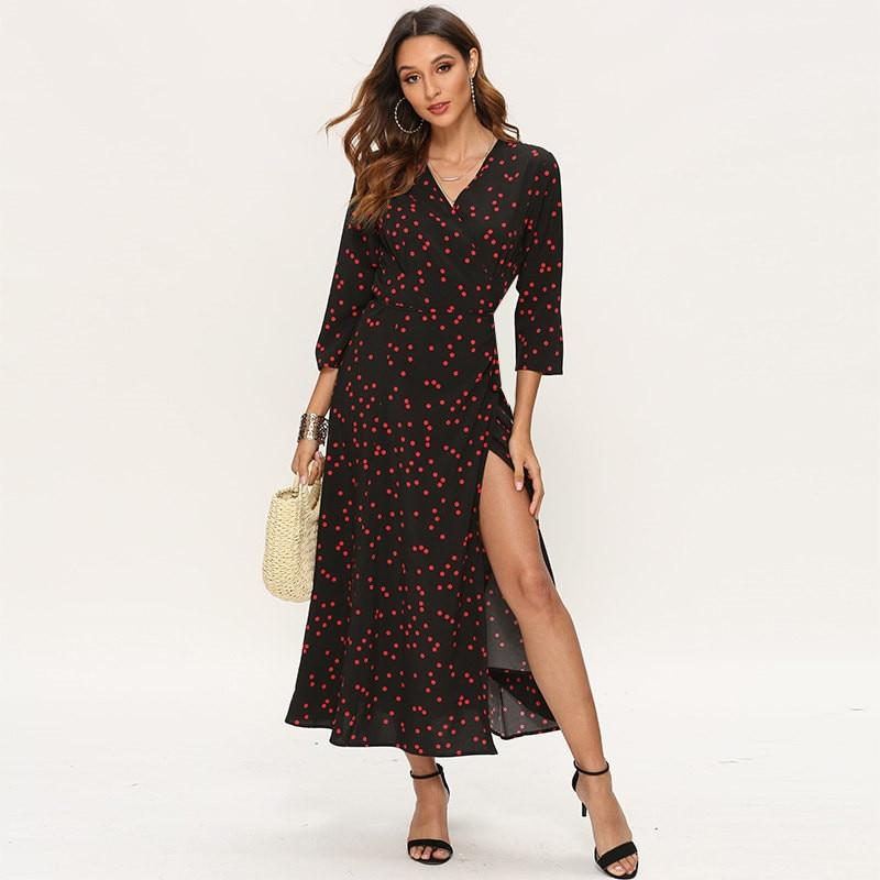 Women Polka Dot Three Quarter Sleeve Long Dress