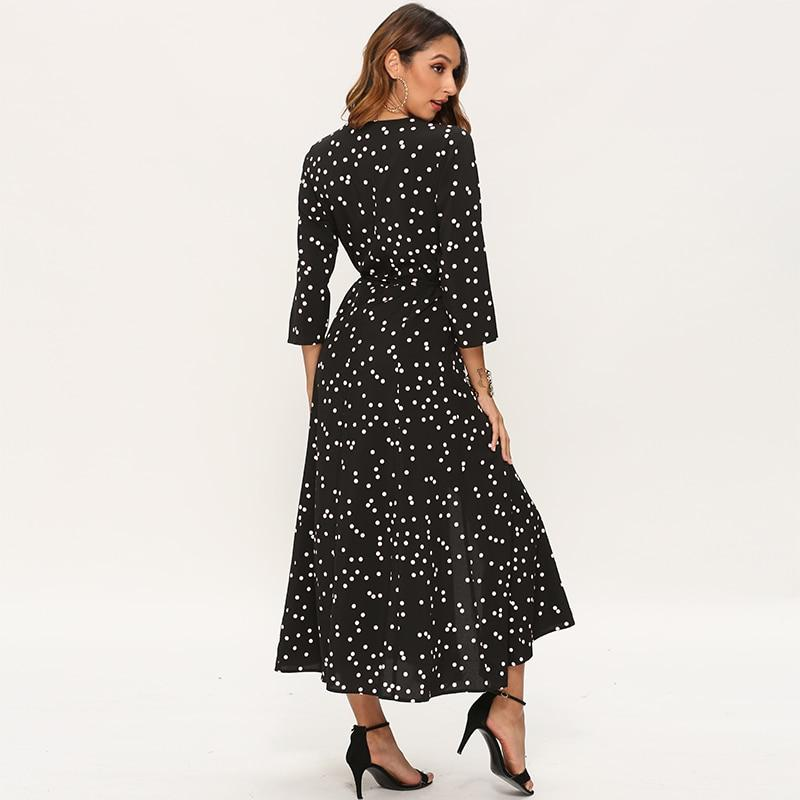 Women Polka Dot Long Dress Boho Sexy V Neck Split Maxi Party Dress Elegant Three Quarter Sleeve Casual Bandage Wrap Dresses