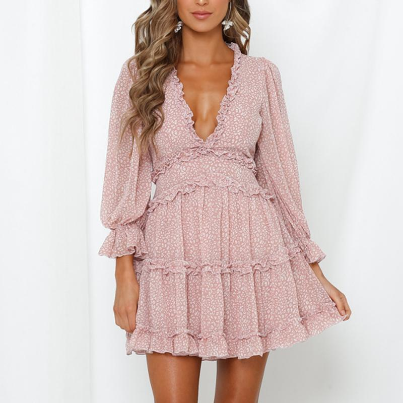 Romantic Back Cut Out Print Chiffon Mini Holiday Dress