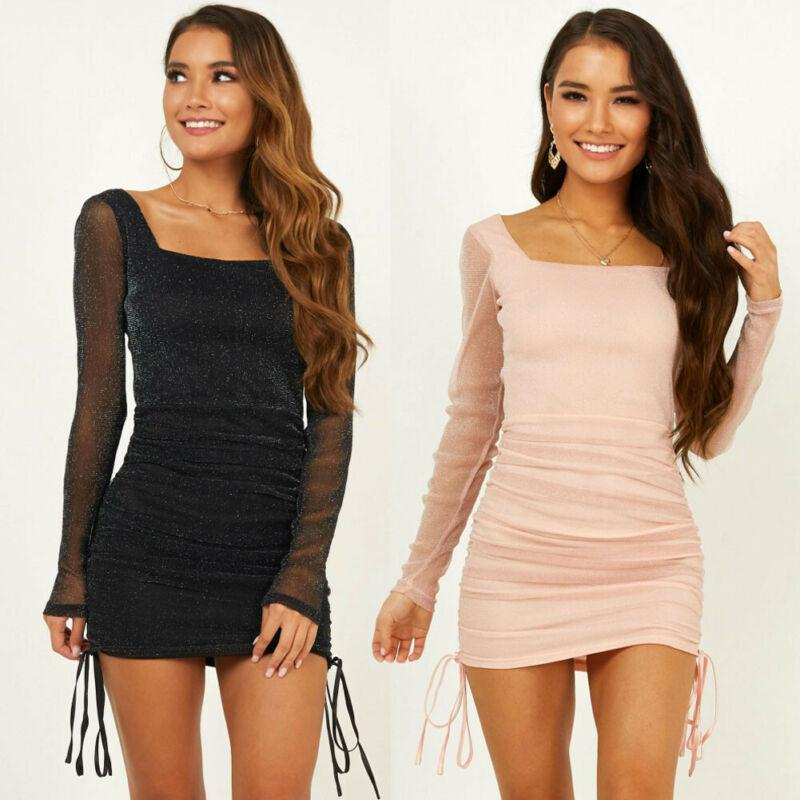Women Long Sleeve Bare Back Dress Evening Party Sheath Sequins Clubwear