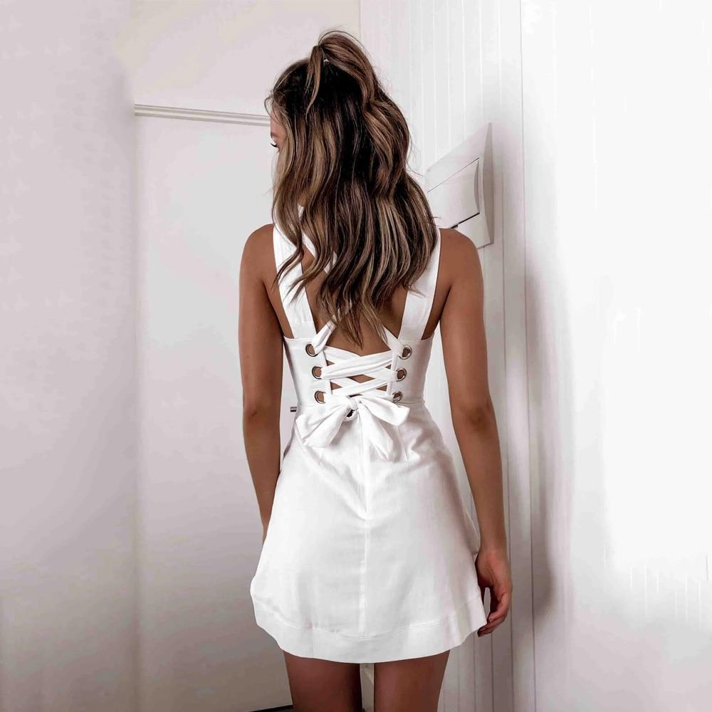 Cross Lace up Backless A Line Vintage Dress Strap Cascading Ruffles Elegant Vestidos Party Mini White Black Sexy Dresses Female