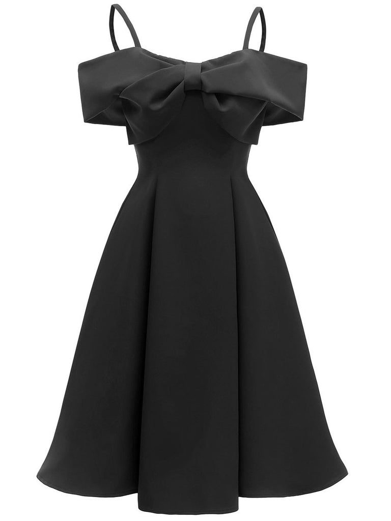 1950s Dress Off Shoulder Slip Bow Decor Dress