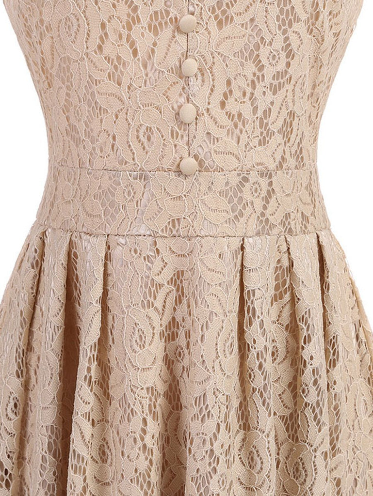 1950s Vintage Big Swing Dress O Neck Apricot Lace Dress