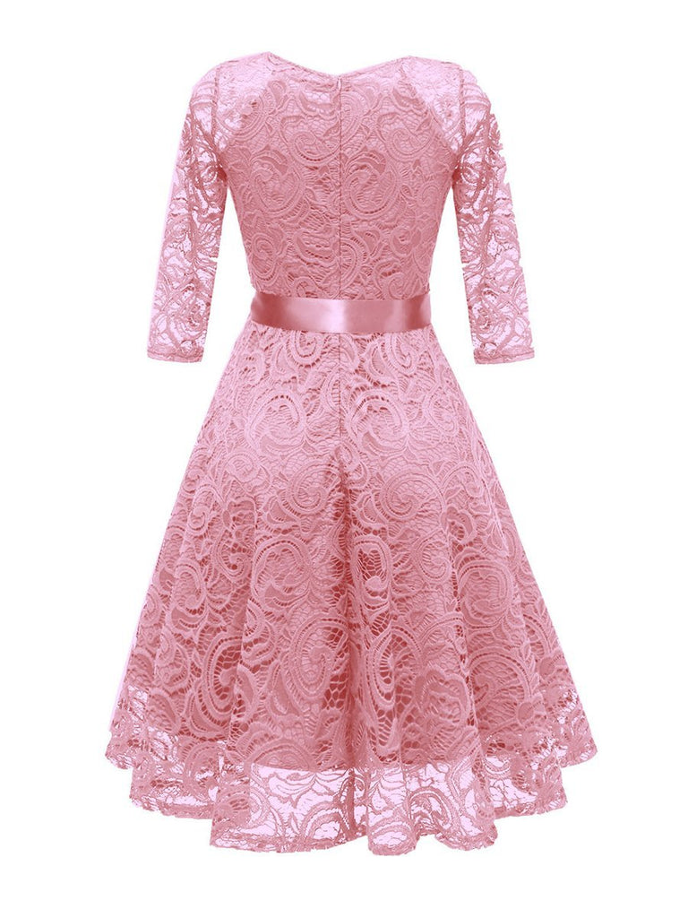 V Neck Long Sleeve Lace Bow Decor Dress