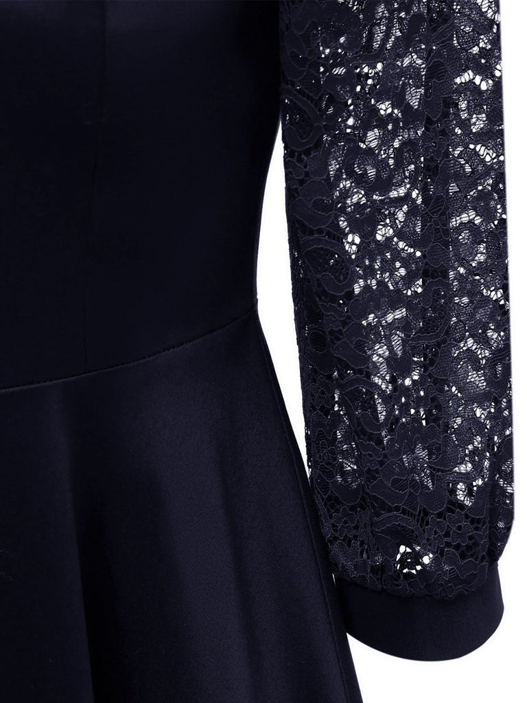 Lantern Sleeve Square Neck  Solid Color Lace Dress