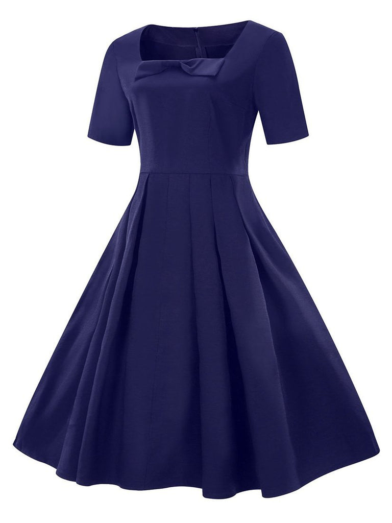 Women's Aline Dress Solid Color Short Sleeve Square Neck Bow Decor Dress
