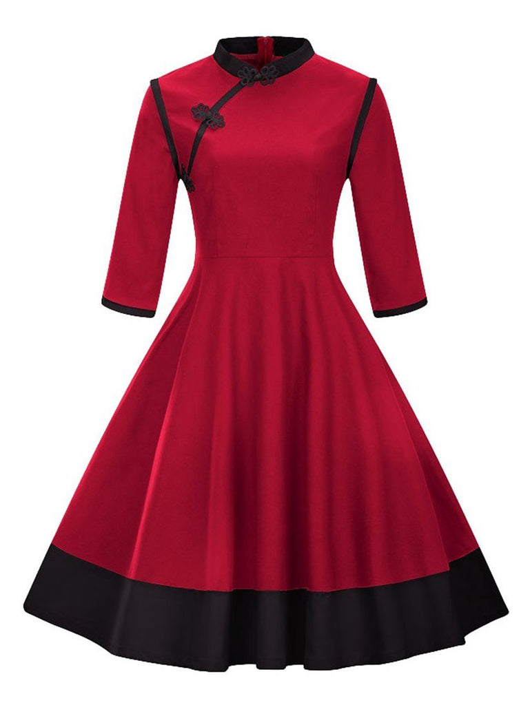 Women's Ethnic Dress Three Quarters Sleeve Vintage Aline Dress