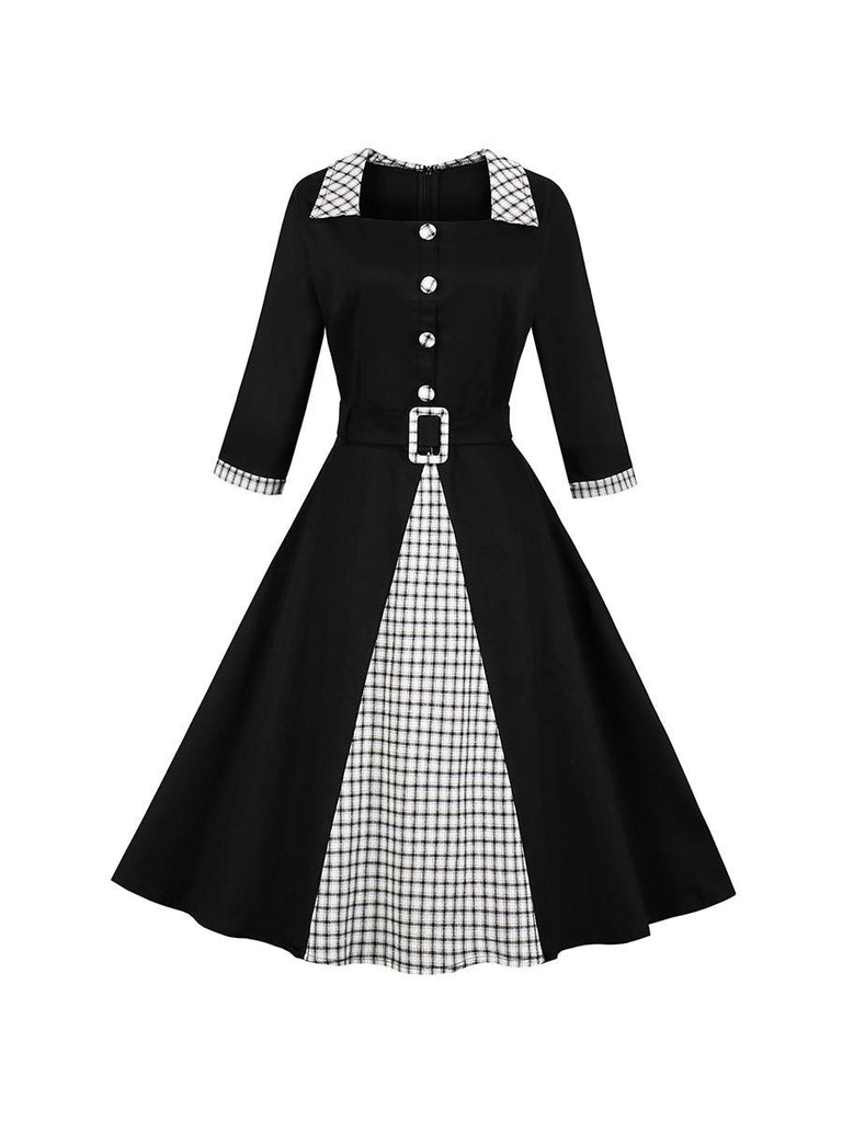 Vintage Dress Lapel Plaid Stitching Swing Dress With Belt