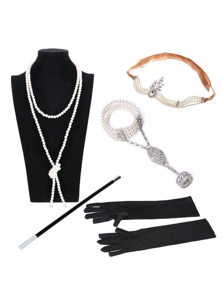 1920s Accessories Flapper Costomes Set/Headband, Necklace, Gloves, Cigarette Holder&Bracelet